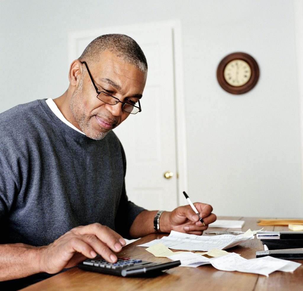 Man checking his finances